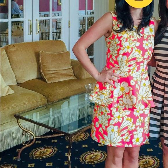 Lilly Pulitzer Dresses & Skirts - Julie Brown Elenor Pink Combo Peplum Dress, Sz 8